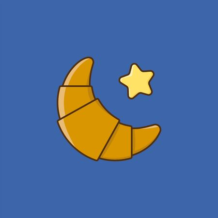 Croissant and butter vector illustration for #CroissantDay on January 30. French pastry color vector symbol.