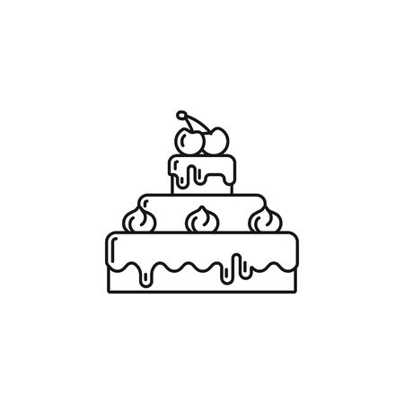 Chocolate cake with cream and cherries on top outline icon. Sweet food vector symbol. 向量圖像