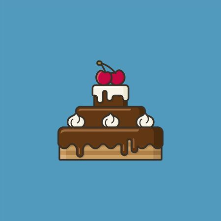 Chocolate cake with cream and cherries on top illustration for #ChocolateDay on January 27. Sweet food color symbol.