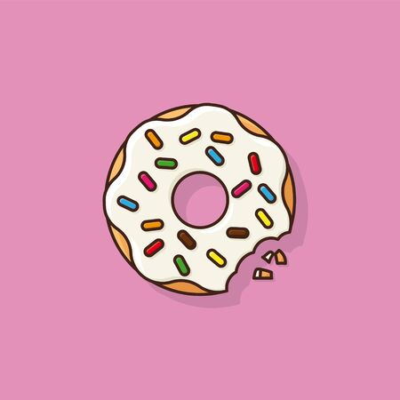 Bitten sugar-coated donut with colorful sprinkles vector illustration. Unhealthy eating, sweet food symbol.