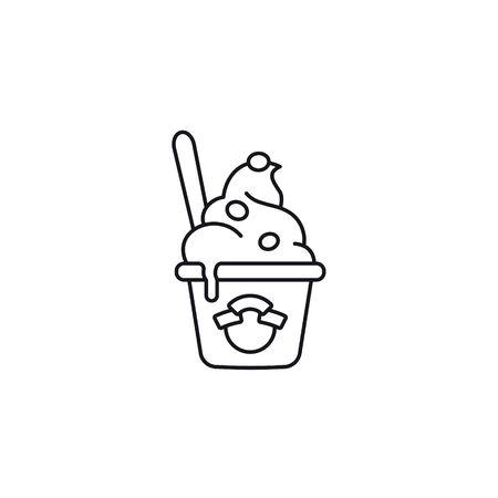 Frozen Joghurt oder Eisbecher Vektor Symbol Leitung. Isoliertes Erfrischungs- und Dessertsymbol