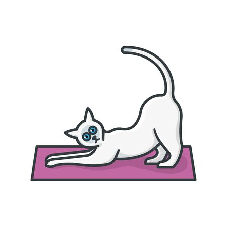 Stretching siamese cat on yoga mat isolated vector illustration. Domestic animal and asian exercise color symbol
