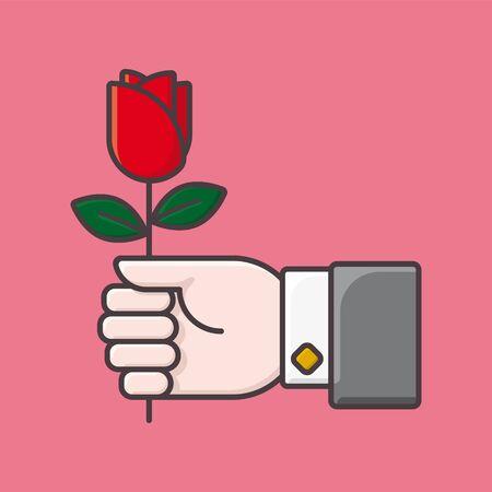 Hand giving rose flower vector illustration for Valentines Day. Love and romance  color symbol Illusztráció