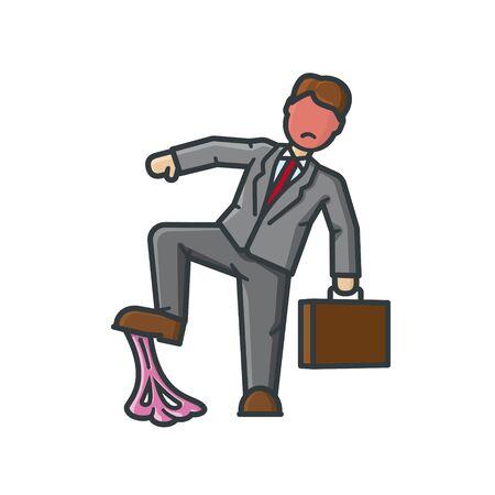 Geschäftsmann, der am 7. Februar in Kaugummi-Vektorillustration für den Kaugummi-Tag tritt. Missgeschick, Pech, Ärger isoliertes Konzept. Vektorgrafik