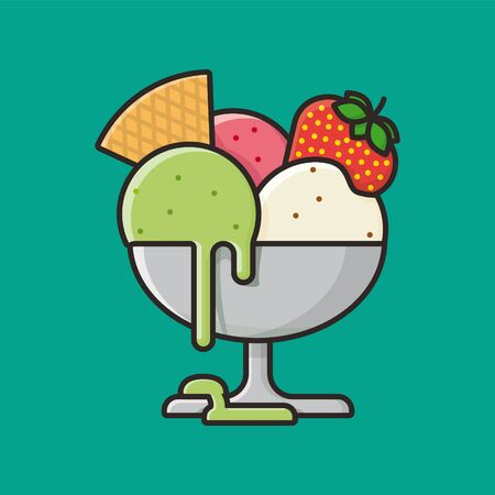 Bowl of Italian ice cream with vanilla, strawberry and pistachio flavors illustration. Sweet food and dessert color vector symbol.