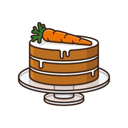 Pastel de zanahoria en plato de vidrio aislado ilustración vectorial de color. Símbolo de pastelería y alimentos dulces.