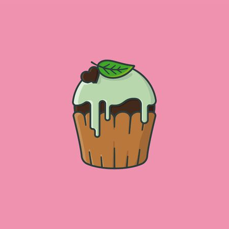 Chocolate cupcake with mint icing vector illustration for Chocolate Mint Day on February 19th. Delicious pastry color symbol.
