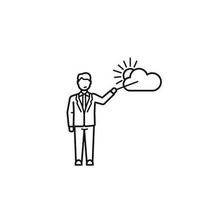 Weatherman line icon. Isolated weather forecast presenter symbol