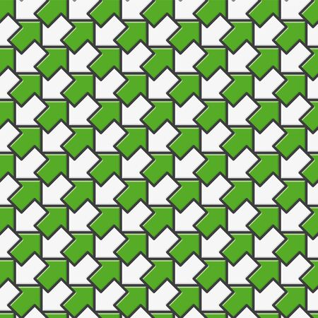 Seamless vector pattern with green and white diagonal arrows in opposing directions. Çizim