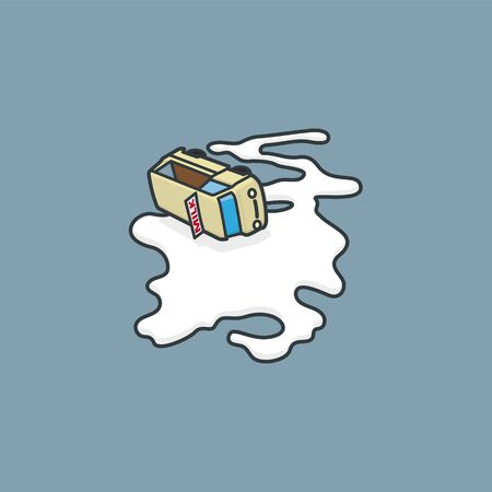 Milk delivery van accident vector illustration for #DontCryOverSpilledMilkDay on February 11.