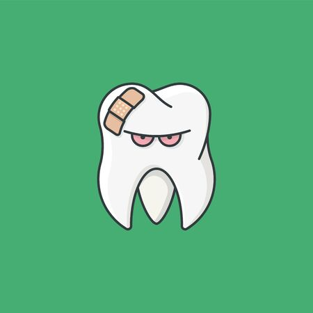Annoyed looking tooth with plaster vector illustration for Toothache Day on February 9.