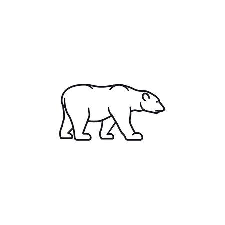 Polar bear vector outline icon. Endangered species symbol.