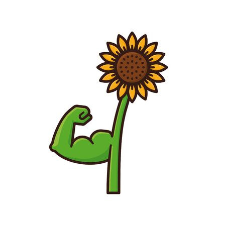 Sunflower flexing muscles isolated vector illustration for Plant Power Day on March 7. Healthy plants color symbol.