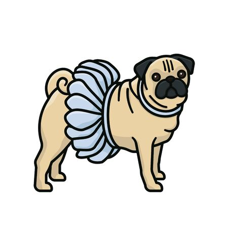 Pug with blue ballet tutu dress vector illustration for Dress in blue day on March 6th. Isolated dressed up pet color symbol.