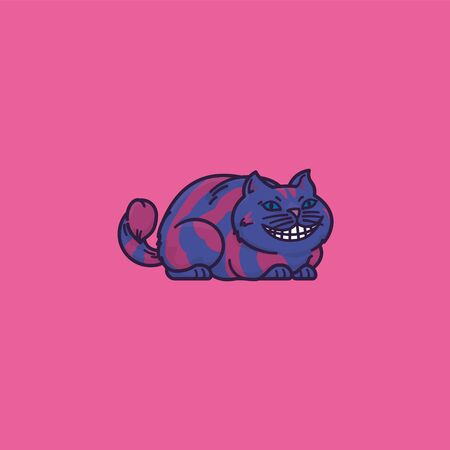 Cheshire Cat cartoon vector illustration for False Teeth Day on March 9. Alice in Wonderland fairy tale character.