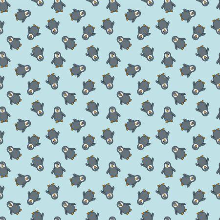 Baby penguins seamless wallpaper pattern on light turquoise background vector illustration.