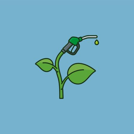 Bio fuel concept. Plant with fuel nozzle vector illustration for Biodiesel Day on March 18th.