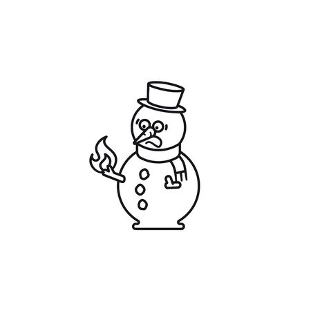 Frightened snowman looking at his  burning stick hand vectorline icon