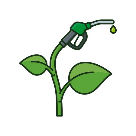 Bio fuel concept. Plant with fuel nozzle isolated vector illustration for Biodiesel Day on March 18th. Ilustrace