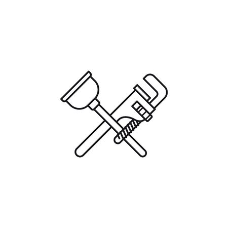 Plunger and pipe wrench crossed vector line icon. Plumbing tools outline symbol.