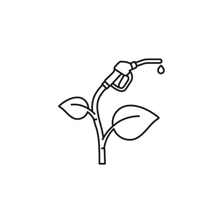 Bio fuel concept line icon. Plant with fuel nozzle outline vector ..
