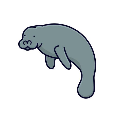 Sea cow isolated vector illustration for Manatee Appreciation Day on March 25th, Marine mammal color symbol. Stock Photo