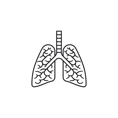 Infected human lungs vector line icon. Serious lung disease outline symbol.