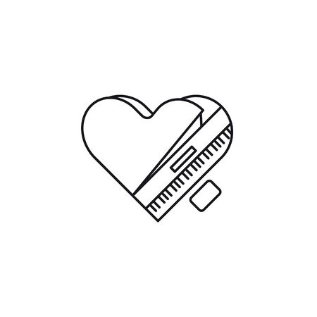 Heart-shaped grand piano, top view, vector line icon. Love of music outline symbol.