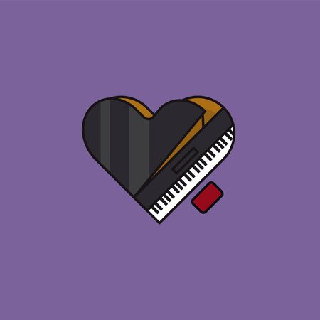 Heart-shaped grand piano, top view, vector illustration for Piano Day on March 29th. Love of music symbol.