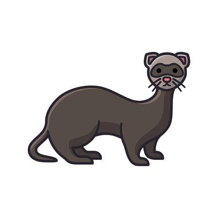 Ferret cartoon isolated vector illustration for erret Day on April 2nd. European Polecat or Weasel carnivore symbol. Vector Illustratie
