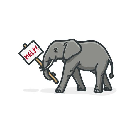 African elephant holding help sign isolated vector illustration for Save The ElepHant Day on April 16th. Endangered species symbol. Ilustração
