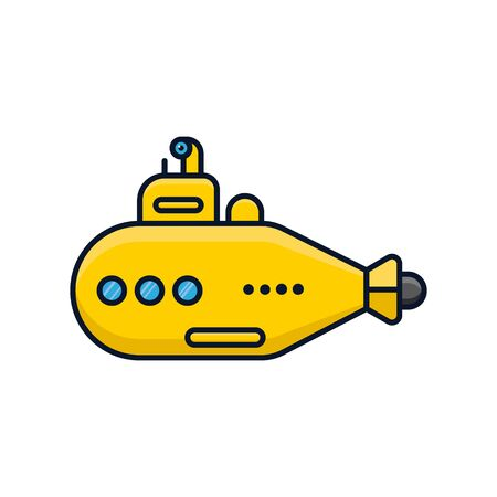Yellow submarine vessel isolated vector illustration for Submarine Day on April 11th.