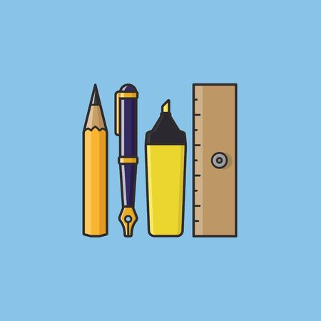 Variety of stationery including pencil, fountain pen, highlighter and ruler vector illustration for Stationery Day on April 29th. Writing instruments color symbol.