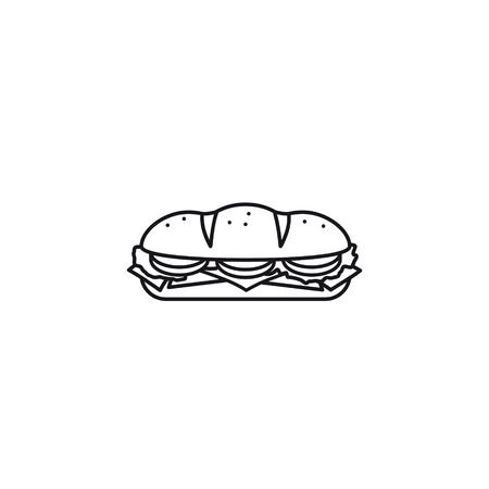 Hoagie or sub with tomato, lettuce, ham, and cheese vector line icon. Take-away food outline symbol.
