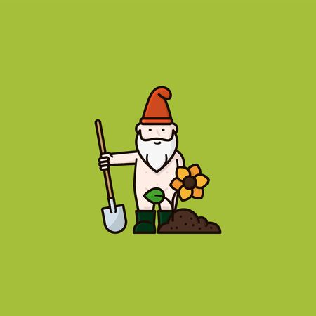 Undressed garden gnome or bearded man cartoon character in rubber boots with shovel, soil and flower vector illustration for Naked Gardening Day on May 2nd.