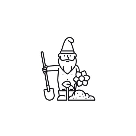 Undressed garden gnome or bearded man cartoon character in rubber boots with shovel, soil and flower vector icon Çizim