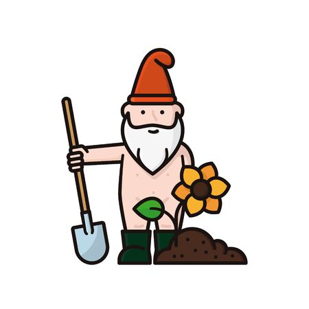 Undressed garden gnome or bearded man cartoon character in rubber boots with shovel, soil and flower isolated vector illustration for Naked Gardening Day on May 2nd.