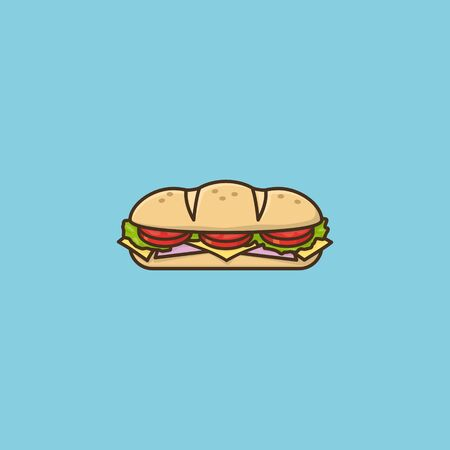Hoagie or sub with tomato, lettuce, ham, and cheese vector illustration for Hoagie Day on May 5th. Take-away food color symbol.