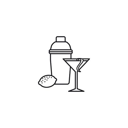 Cosmopolitan cocktail, shaker and lemon vector line icon. Famous alcoholic drink outloine symbol