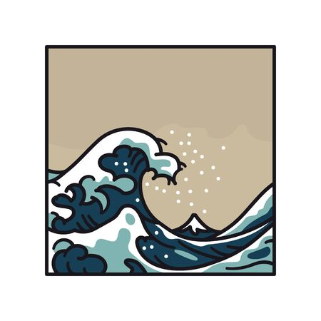 Great Wave Off Kanagawa, after masterpiece by Hokusai, cartoon style vector illustration isolated on white.