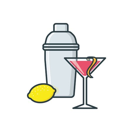 Cosmopolitan cocktail, shaker and lemon isolated vector illustration for Cosmopolitan Day on May 7. Famous alcoholic drink color symbol