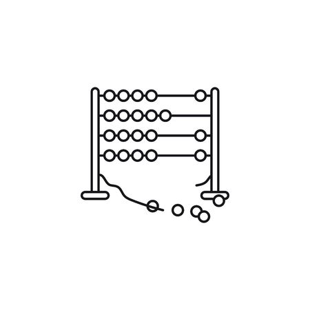 Broken Abacus vector line icon. Miscalculation and system crash outline symbol. Vecteurs
