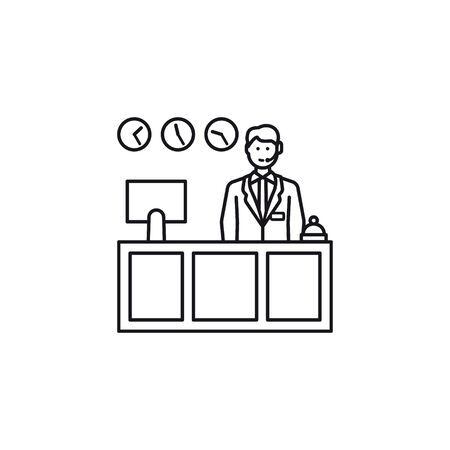 Receptionist behind desk vector line icon. Friendly and helpful desk clerk with service bell, computer monitor and clocks. Çizim