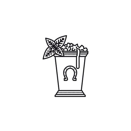 Kentucky Derby Mint Julep drink in silver cup vector line icon. Classic cocktail recipe outline symbol.