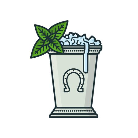 Kentucky Derby Mint Julep drink in silver cup isolated vector illustration. Classic cocktail recipe symbol.