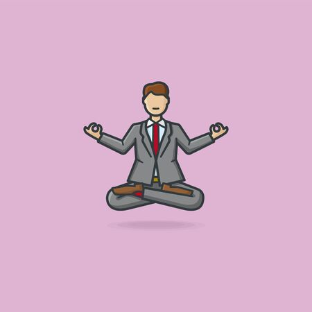 Businessman cartoon character levitating while practicing meditation in yoga lotus pose with crossed legs and Gyan mudra gesture vector illustration for World Meditation Day on May 31st. Vectores