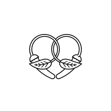Heart of chili peppers and mint leaves vector line icon. herband spice outline symbol. Illustration