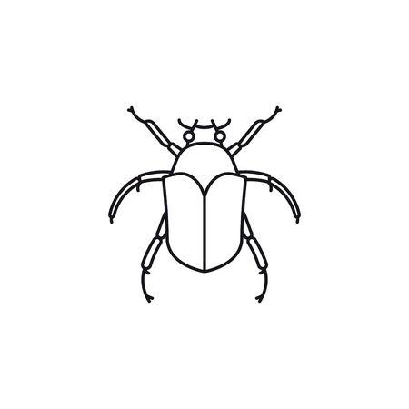 Junebug or June Beetle vector line icon. Cotinis nitida outline symbol.