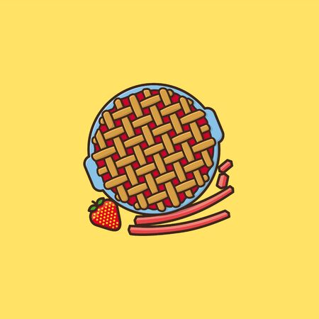 Strawberry Rhubarb Pie vector illustration for Strawberry-Rhubarb-Pie Day on June9th. Fruit cake and sweet food symbol.
