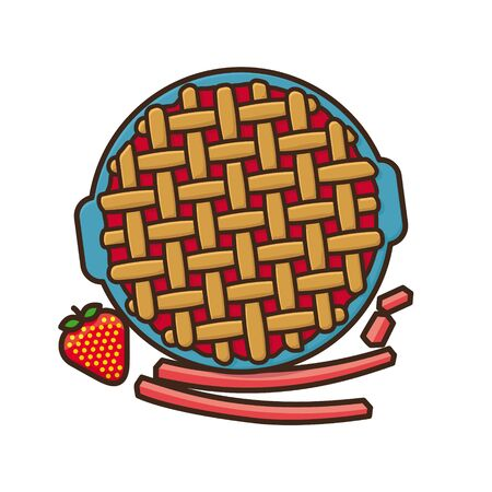 Strawberry Rhubarb Pie isolated vector illustration for Strawberry-Rhubarb-Pie Day on June9th. Fruit cake and sweet food symbol.